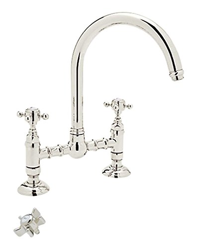 Rohl A1461XPN-2 Country Kitchen Bridge Faucet with Five Spoke Handles, Polished Nickel