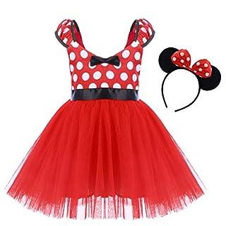 Wedding Costume for Toddler Little Girl Tutu Skirt Mouse Ear Headband Polka Dot First Birthday Halloween Costume Princess Outfits X# Red Short Dress+Headband 18-24 Months
