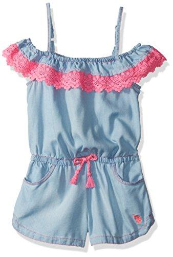 Limited Too Girls' Little Romper, Heart Applique Light Blue Denim, -