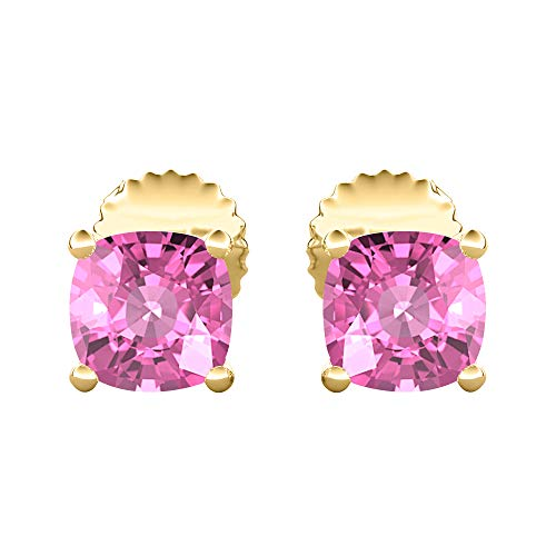 ((10MM) Cushion Cut Created Pink Sapphire Solitaire Stud Earrings 14K Yellow Gold Over .925 Sterling Silver For)