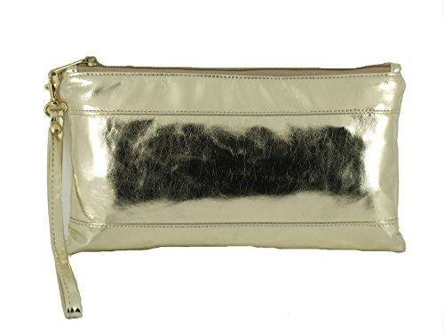 for Bag with Wallet Gold Detachable Adorable Clutch Loni Purse Patent Womens Women Strap Wrist wq0XOzI
