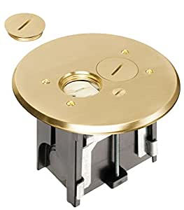 Arlington FLBAR101MB-1 Adjustable Round Floor Outlet Electrical Box Kit with Brass Metal Cover, Fits up to 2-Inch Floors, 1-Pack