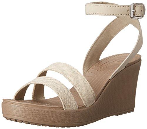 Crocs Canvas Sandals (Crocs Women's Leigh Wedge Sandal,Oat Meal/Mushroom,9 M US)