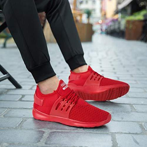À Sports Homme Enfiler Pieds Basses Rouge Chaussures Running Sport Couleur Sneakers Mode De Baskets Mounter Léger Unie Course qIvABw