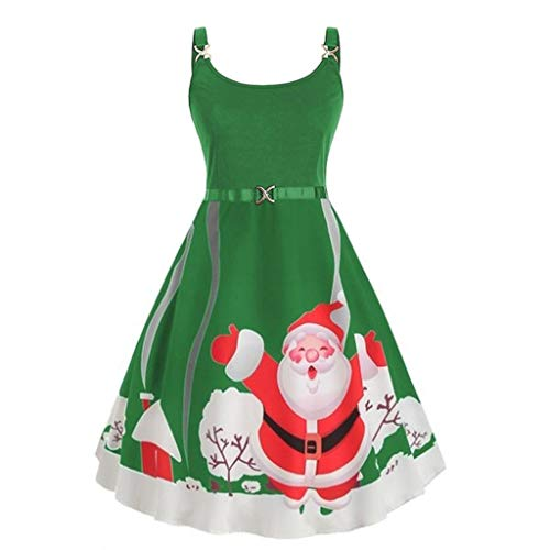 Women Dresses for Christmas SFE Winter Santa Claus Print Sling Sleeveless Round Neck Ruffle Long Dresses Plus Size (Wood Sale Dresser For Long)