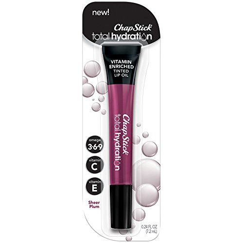 - ChapStick Total Hydration Vitamin Enriched Tinted Lip Oil (Sheer Plum Tint, 1 Tube), Vitamin C, Vitamin E, Contains Omega 3 6 9, 0.24 Ounce