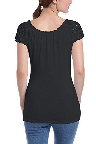 Elegante Encaje Mujer Bodycon Patchwork Hueco Fuera Verano Top T Shirt Black
