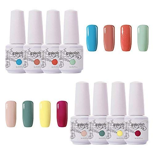 (Clou Beaute Soak Off UV Led Nail Gel Polish Kit Varnish Nail Art Manicure Salon Collection Set of 8 Colors 8ml CB-S07)