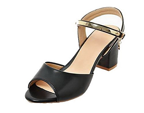 Aalardom Open con nero sandali Solid Tsmlh006604 con Women Toe fibbia aBqrw5aU