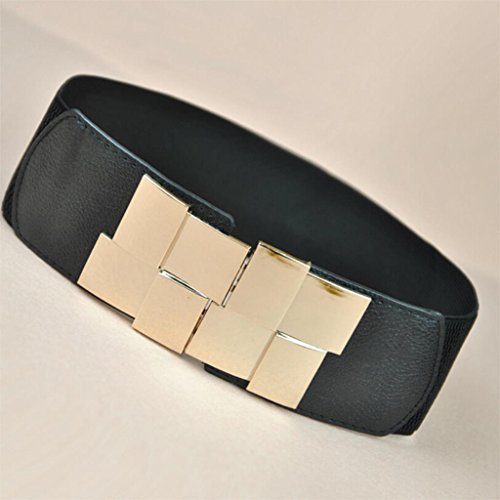 High Quality Fashion Women Belt Stretch Elastic Waistband Wide Metal Waist Belts