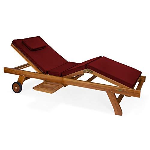 Red Cedar Chaise Lounge Chair - All Things Cedar TL78-G Teak Chaise Lounge Chair with Cushion, Red