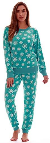 #followme Printed Velour Pajama Top with Jogger Pant 6757-10329-TEL-3X