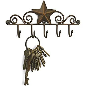 Star Key Rack Exclusive Key Holder Wall Organizer - Aged Copper Rustic Western American Decor