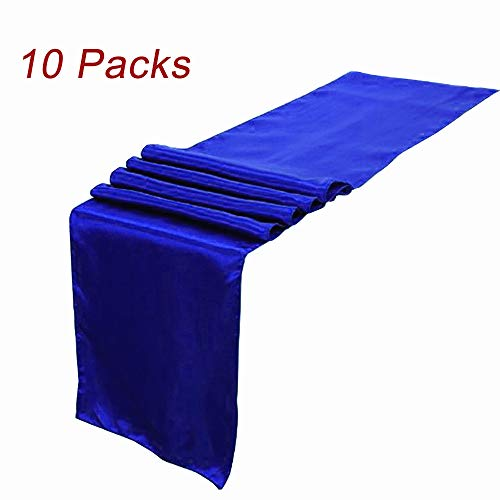 LG Home Pack Of 10 Wedding 12 x 108 inch Satin Table Runner For Wedding Banquet Decoration- Royal Blue