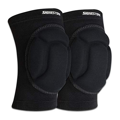 Shinestone Knee Protector, Protective Knee Pads, Thick Sponge Knee Pads Protector High Elastic Anti-Slip Collision Avoidance Knee Sleeves for Basketball and More Sports. (1 Pair) (Medium)