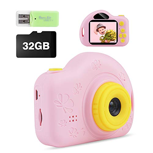 Kids Camera, Digital Video Camera Creative DIY Camcorder with Rechargeable Battery Birthday/Christmas/New Year Gifts for 3 4 5 6 7 8 9 10 Year Old Girls with 32GB SD Card -Pink