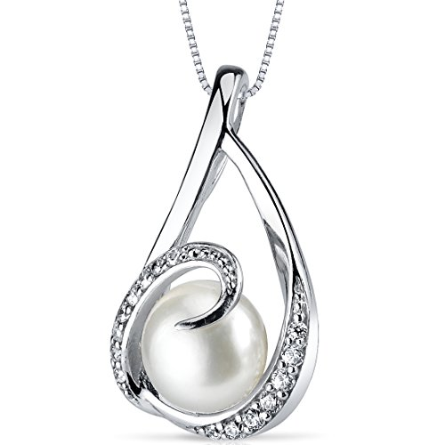 Elegant Swirl 8.0mm Freshwater Cultured Pearl Pendant Necklace Sterling Silver