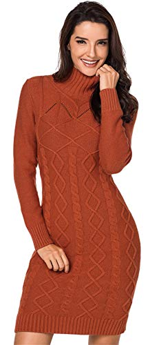 Long Sleeve High Mock Neck Geometric Cable Stitch Pullover Sweater Jumper Tunic Top Mini Bodycon Dress Orange L ()