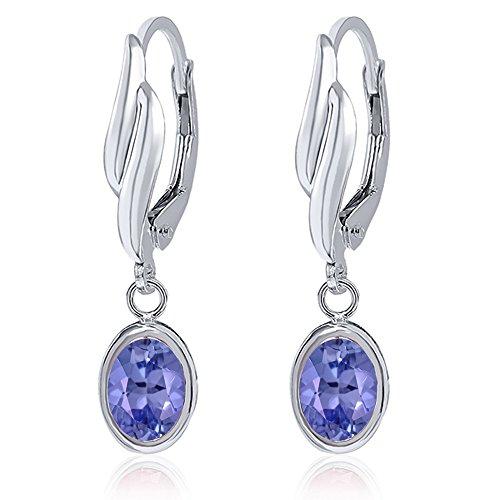 1.50 Ct Oval Blue Tanzanite 925 Sterling Silver Earrings by Gem Stone King