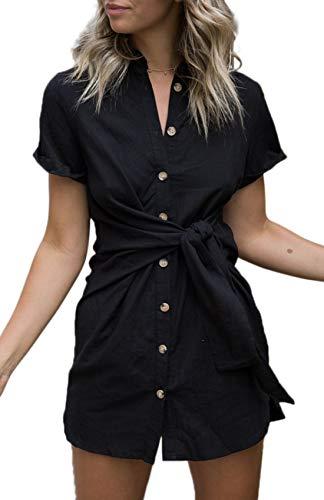 - ZESICA Women's Summer Short Sleeve V Neck Button Down Front Tie Casual Short Tunic Dress Black