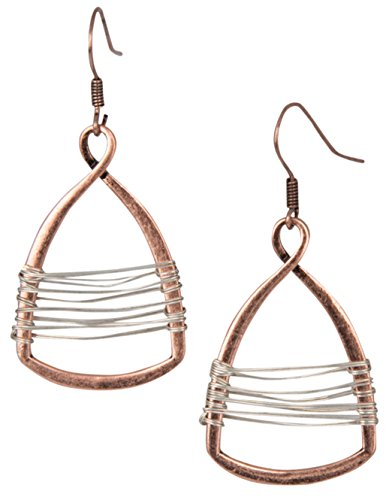 Silver with Gold Wire Copper Toned Handmade Teardrop Earrings
