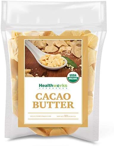 Healthworks Cacao Butter (32 Ounces / 2 Pounds) Organic | Unrefined Non-Deodorized Cocoa | Certified Organic from Peru | Sugar-Free, Keto, Vegan & Non-GMO | Antioxidant Superfood