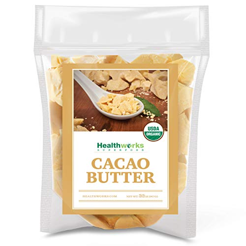 Healthworks Cacao Butter (32 Ounces / 2 Pounds) Organic | Unrefined Non-Deodorized Cocoa | Certified Organic from Peru | Sugar-Free, Keto, Vegan & Non-GMO | Antioxidant Superfood