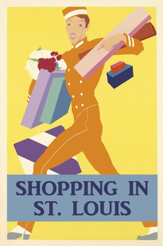 CANVAS Best Shopping in St. Louis Missouri Galleria Mall Outlet Stores Shop Vintage Poster Repro 20