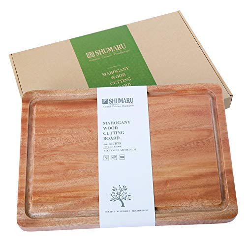 MAHOGANY Thick Wood Cutting Board with Juice Drip Groove 15.7x11x1.1
