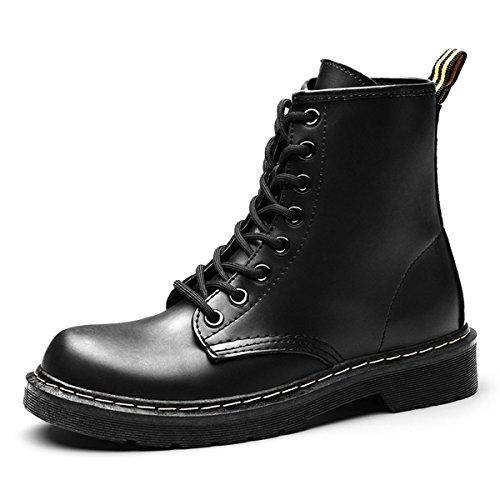 Gracosy Martin Boots Invierno Zapatos Botines, Mujer Unisex Botas Zapatos Invierno Impermeable Martin Botas de Nieve Fur Calentar Botines Planos Lana Interno Moda Cálido Negro without fur