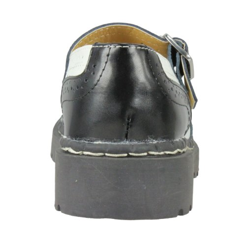 T.U.K. Mary Jane Sneaker LEATHER BROGUE T1035 black-white Black-White