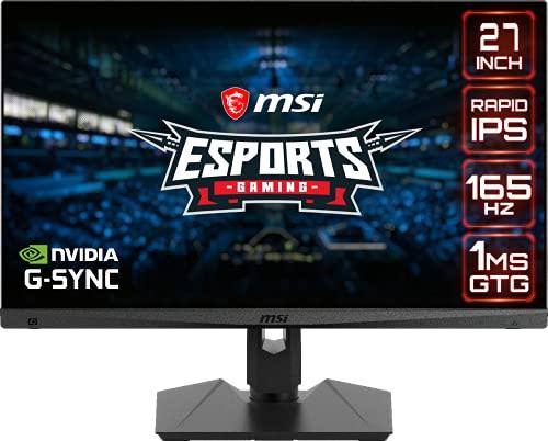 MSI Optix MAG274QRF Esports Gaming Monitor – 27″ WQHD (2560×1440), Flat, Rapid IPS, 165Hz, 1ms GTG Response Time, HDR, G-sync Compatible, VESA Mounting, USB Type C, Display, HDMI
