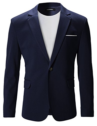 - FLATSEVEN Mens Slim Fit Casual Premium Blazer Jacket (BJ102) Navy, XXL