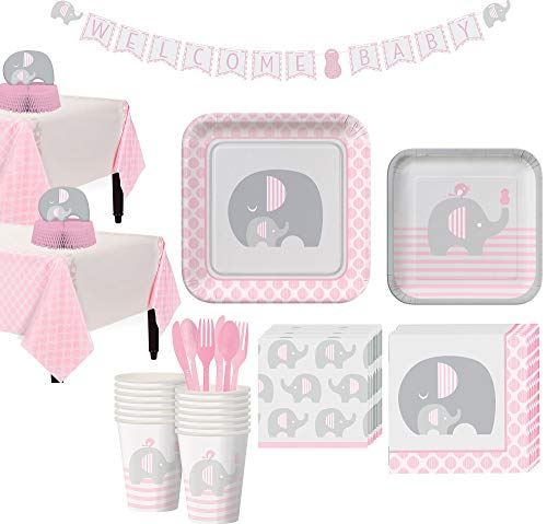 Party City Pink Baby Elephant Tableware Kit for 32 Guests, Includes 2 Table Covers, Table Centerpiece and Banner