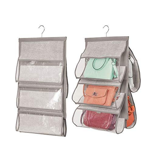 mDesign Soft Fabric Hanging Closet Rod Storage Organizer for Storing and Organizing Purses, Backpacks, Satchels, Crossovers, Handbags - 5 Open Pockets - Textured Print - 2 Pack - Linen/Tan