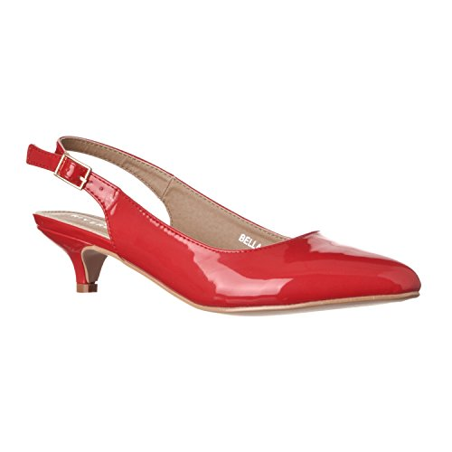 Riverberry Women's Bella Pointed Toe Sling Back Low-Height Pump Heels, Red Patent, - Toe Red Patent Heels Pointed