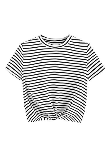 MAKEMECHIC Women's Summer Crop Top Solid Short Sleeve Tie Front T-Shirt Top 5-Striped L