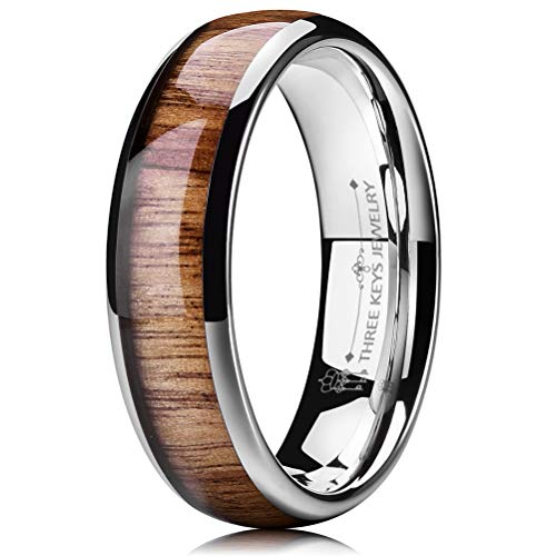 THREE KEYS JEWELRY 6mm White Tungsten Carbide Wedding Ring for Women with Koa Wood Inlay Domed Wedding Band Engagement Ring Comfort Fit Size 10.5