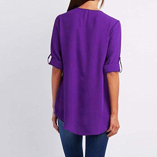 Chemisier Bleu Manches Loose Top T violet Clair Shirt Longues Mode XL Tops AiBarle Femme dcontracte qwPv80Y