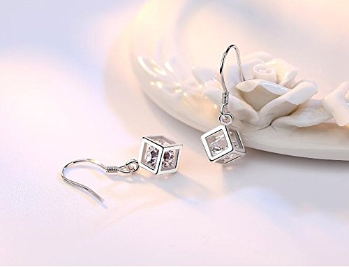HIYOU-HOME Zirconia inlay Cube Love Stud Earrings(Cube Love)