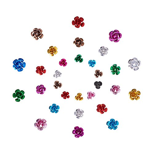 Pandahall Elite 600 Pieces Mixed Color 3-Size Aluminum Rose Flower Tiny Metal Beads Jewelry Making DIY Craft