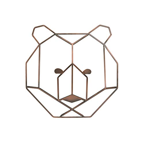 - NoJo Mountain Patchwork - Metallic Copper Wire Shaped Bear Head Wall Art, Copper