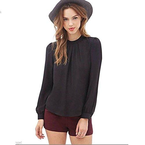 Elegant Women Long Sleeve Casual Chiffon Solid Blouse Shirt Top