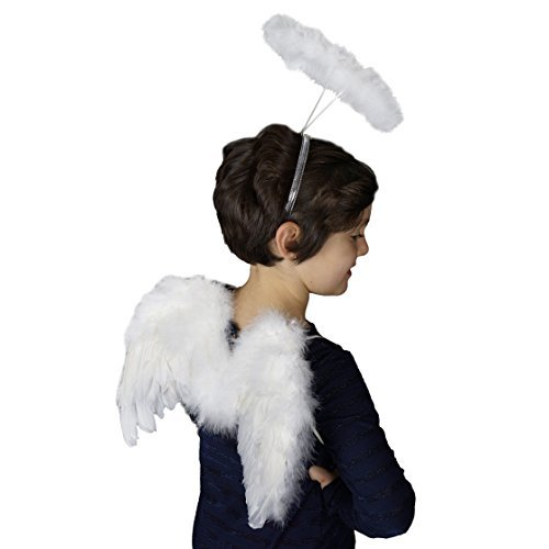 Zucker Small Angel Wing Costume- White Wings & Halo Halloween Kids Feather -