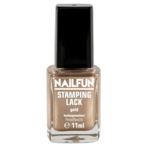 Stampinglack GOLD 11ml Pinselflasche - Stamping Nagellack - 1 x 11ml