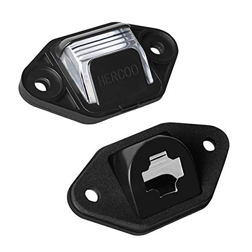 - HERCOO License Plate Lights Lamp Lens Black Clips Housing Compatible with 1999-2014 Ford E-150 E-250 E-350 E-450 E-550 Super Duty Econoline Pickup Truck Rear Step Bumper Aftermarket, Pack of 2