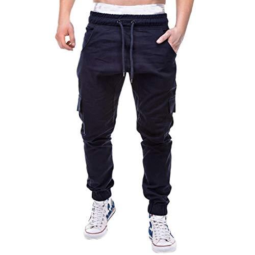 (FRC0LT Fashion Men's Sports Pure Color Casual Loose Sweatpants Drawstring Cargo Pant (M, Navy))
