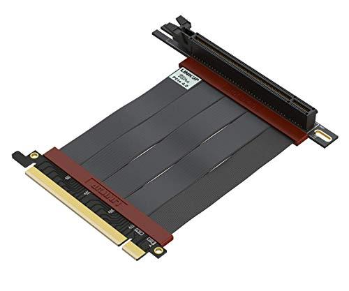 LINKUP - Ultra PCIe 4.0 X16 Riser Kabel [x570 RX5700XT Getestet] Geschirmte Twinaxial Vertikale Steigleitung Portverlängerungs-Platte Gen4 | 90 Grad Buchse {10 cm} PCI Express 3.0 Gen3 Kompatibel-