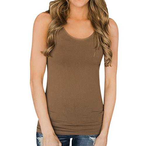 GHrcvdhw Ladies Casual Loose O-Neck Sling Sleeveless Solid Color Knitted Breathable Tank Tops Coffee