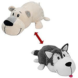 "FlipaZoo The 16"" Pillow with 2 Sides of Fun for Everyone - Each Huggable FlipaZoo character is Two Wonderful Collectibles in One (Husky / Polar Bear) - 41Fv Di0vWL - 16″ Husky Dog to Polar Bear FlipAZoo Stuffed Animal, Husky/Polar Bear"